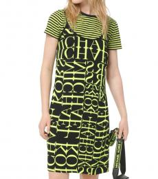 Black Neon Yellow Newsprint Logo Slip Dress