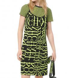 Michael Kors Black Neon Yellow Newsprint Logo Slip Dress