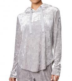 Betsey Johnson Quick Silver Crushed Velvet Hoodie