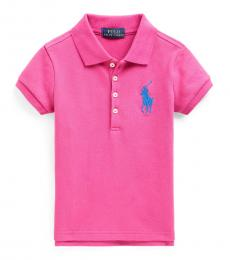 Ralph Lauren Little Girls College Pink Big Pony Stretch Mesh Polo