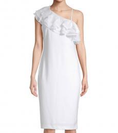 White Ruffled Asymmetrical Neck Dress