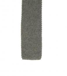 Grey Knit Silk Skinny Tie