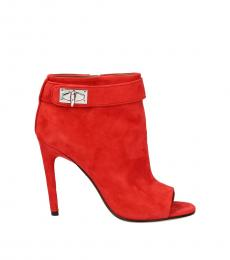 Red Open Toe Booties