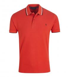 Red Solid Striped Collar Polo