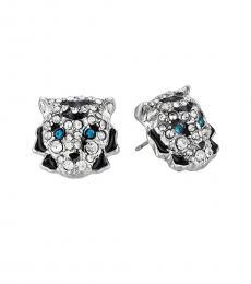 Betsey Johnson Silver Tiger Lovely Earrings