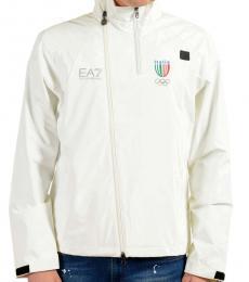 Emporio Armani White Hooded Windbreaker Jacket
