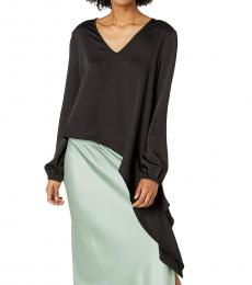 BCBGMaxazria Black Asymmetrical Woven Top