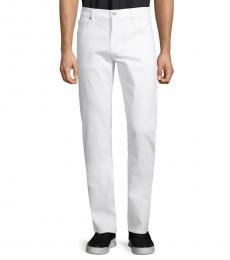White Slim Straight-Leg Jeans
