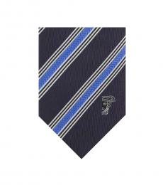 Versace Blue Light Textured Diagonal Stripe Tie