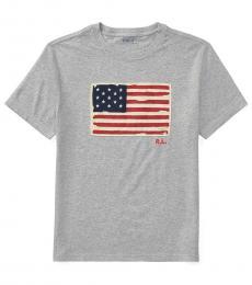Ralph Lauren Boys Andover Heather Flag T-Shirt
