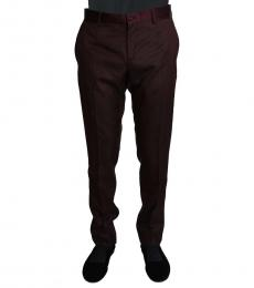 Dolce & Gabbana Cherry Wool Pattern Stripe Trousers
