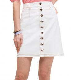 Cream Button Front Mini Skirt