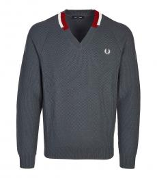 Fred Perry Dark Grey Logo Embroidery Sweater