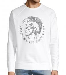 Diesel White Graphic Cotton-Blend Sweatshirt