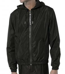 Givenchy Black Logo Print Zip-Front Hoodie