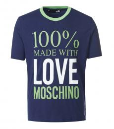 Love Moschino Dark Blue Graphic Print T-Shirt