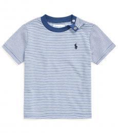 Ralph Lauren Baby Boys Federal Blue Striped T-Shirt