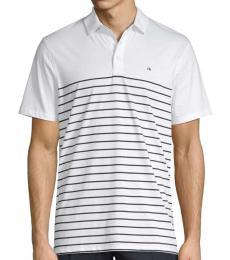 Calvin Klein White Engineered Stripe Polo