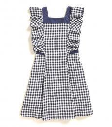 BCBGirls Girls Navy Gingham Back Ruffle Trim Dress