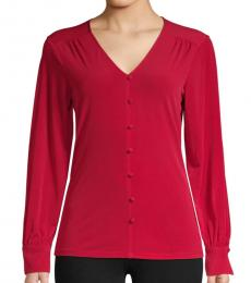 Karl Lagerfeld Ruby Red Stretch-Knit Top