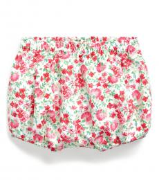 Ralph Lauren Baby Girls Cream Floral Bloomer Shorts