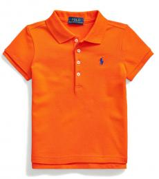 Ralph Lauren Little Girls Sailing Orange Mesh Polo