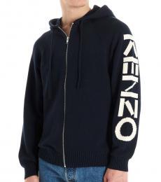 Navy Blue Sleeve Zipper Jacket