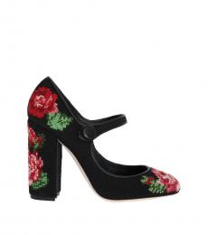 Black Floral Handstitched Heels