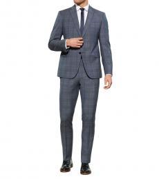 Emporio Armani Blue M Line Plaid Suit