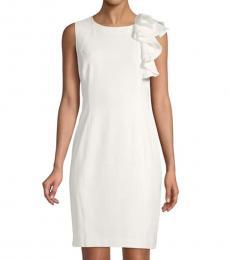 Cream Ruffled Sheath Dress
