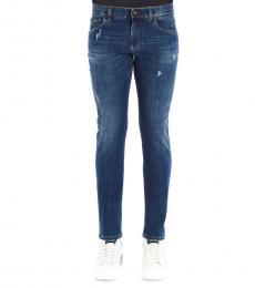 Dolce & Gabbana Blue Slim Fit Logo Jeans