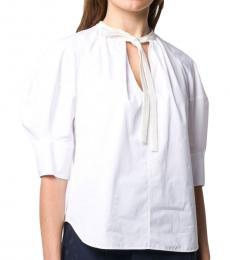 Chloe White Band Collar Cotton Blouse