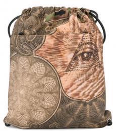 Grey Printed Large Backpack