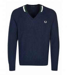 Fred Perry Dark Blue Logo V-Neck Sweater
