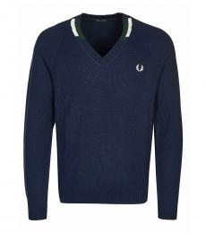 Fred Perry Dark Blue Logo V-Neck Sweater