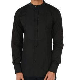 Black Mandarin Slim Tuxedo Shirt