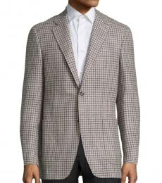 Canali Brown Checked Wool Blazer