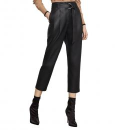 Black High-Rise Faux Leather Cropped Pants