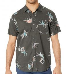 Dark Grey Floral Short Sleeve Shirt
