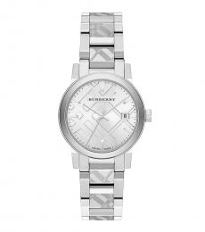 Silver Check Stamped Watch