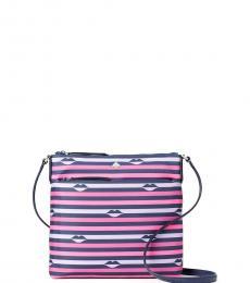 Kate Spade Pink Striped Jae Flat Medium Crossbody