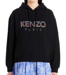 Kenzo Black Logo Print Hooded Sweatshirt