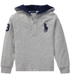 Ralph Lauren Little Boys Grey Big Pony Hooded T-Shirt