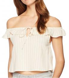 White Striped Cropped Top