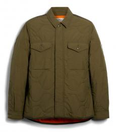 Olive Quilted Shirt Jacket