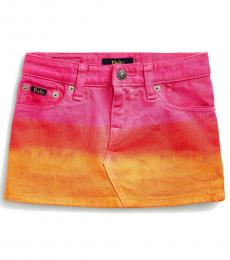 Ralph Lauren Little Girls Farris Wash Dip-Dyed Denim Skirt