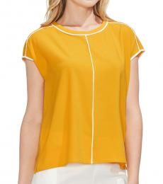 Vince Camuto Yellow Cap Sleeve Top