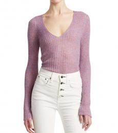 Rag And Bone Lilac Donna Wool V-Neck Sweater