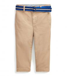 Baby Boys Classic Khaki Belted Stretch Chinos