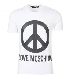 Love Moschino White Graphic Logo T-Shirt